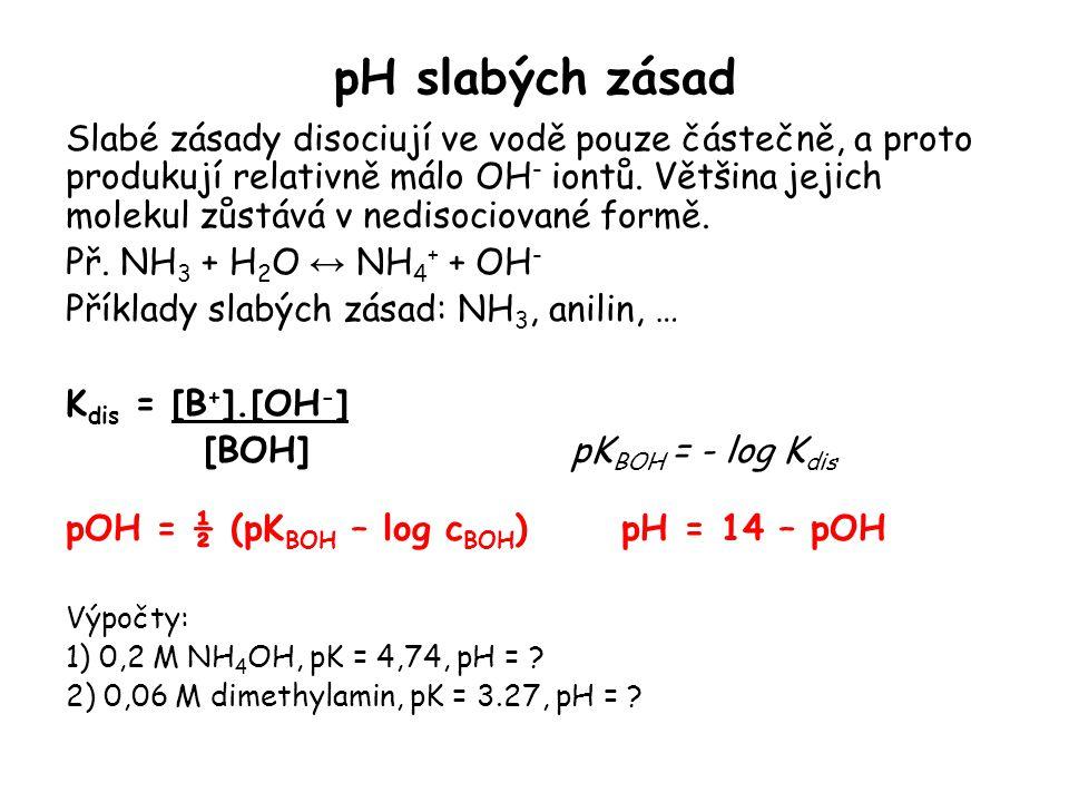 pH slabých zásad Slabé zásady disociují ve vodě pouze částečně, a proto produkují relativně málo OH - iontů. Většina jejich molekul zůstává v nedisoci
