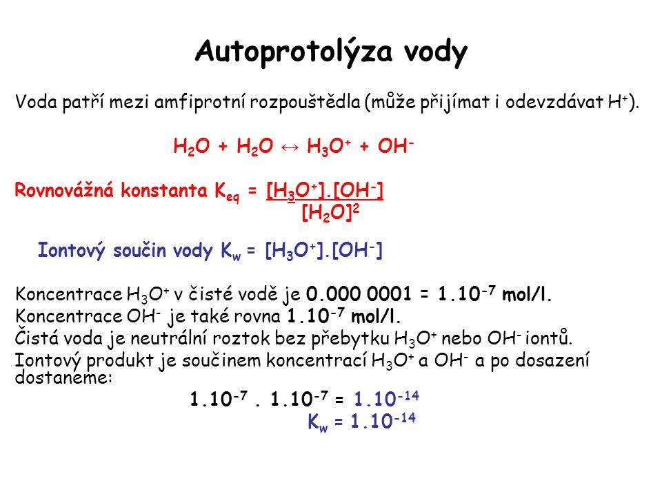 Autoprotolýza vody Voda patří mezi amfiprotní rozpouštědla (může přijímat i odevzdávat H + ). H 2 O + H 2 O ↔ H 3 O + + OH - Rovnovážná konstanta K eq