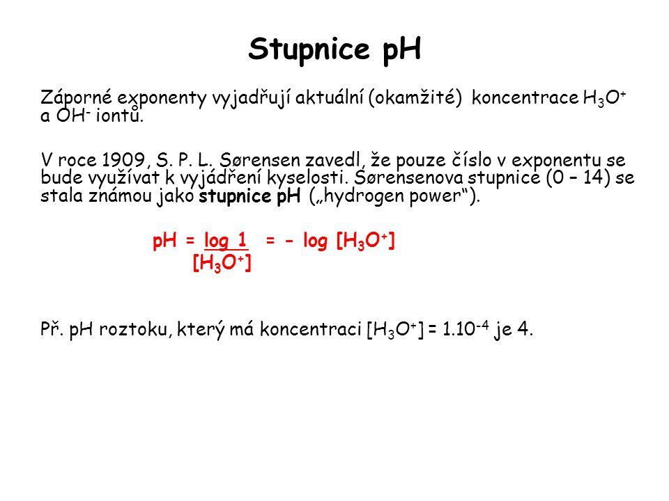 Stupnice pH Záporné exponenty vyjadřují aktuální (okamžité) koncentrace H 3 O + a OH - iontů. V roce 1909, S. P. L. Sørensen zavedl, že pouze číslo v