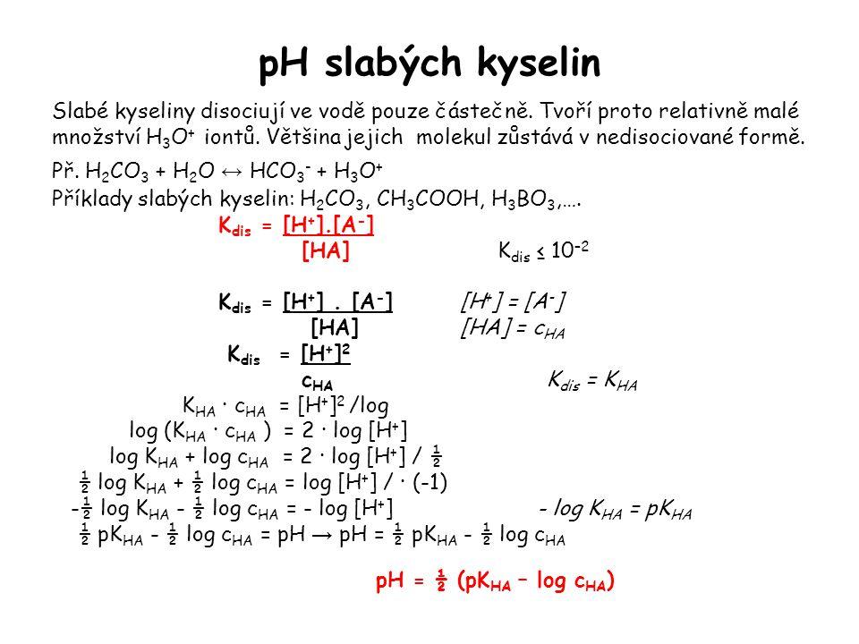 pH slabých kyselin Slabé kyseliny disociují ve vodě pouze částečně. Tvoří proto relativně malé množství H 3 O + iontů. Většina jejich molekul zůstává