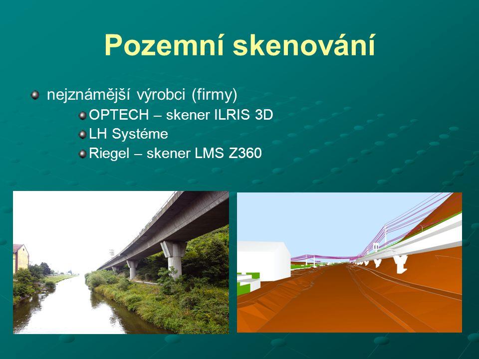 skenovací totální stanice laserový skener může v některých aplikacích zastoupit motorizovaná totální stanice s bezhranolovým dálkoměrem výhody: výrazně levnější, univerzální (i jiná geodetická měření), měří přímo v souřadnicové soustavě nevýhody: pomalé, desítky bodů za minutu, vhodné na skalní masivy, lomy