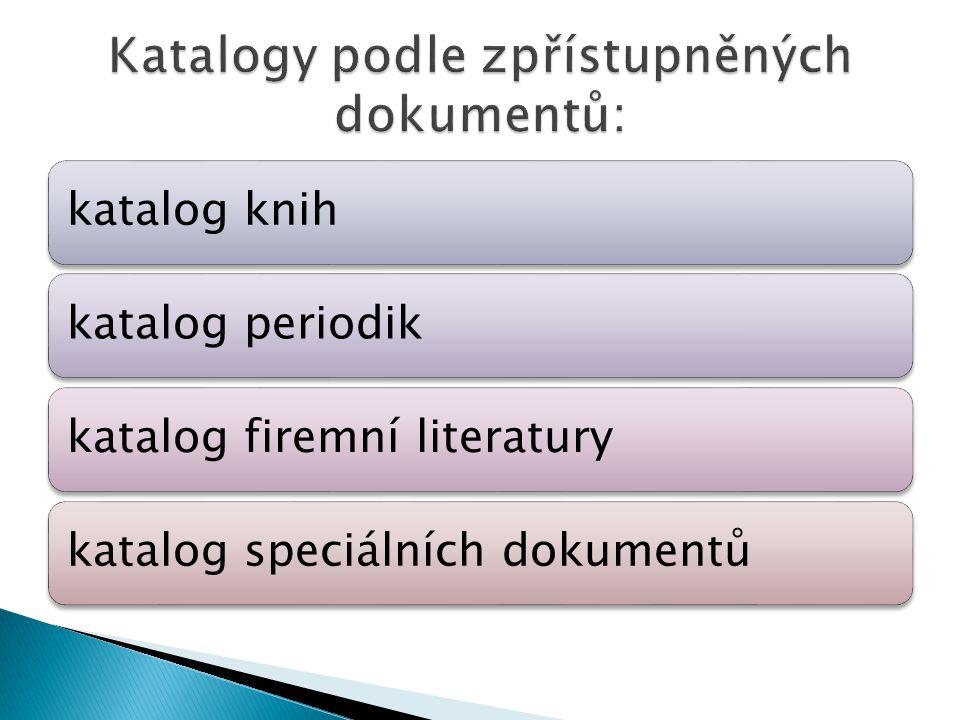 katalog knihkatalog periodikkatalog firemní literaturykatalog speciálních dokumentů