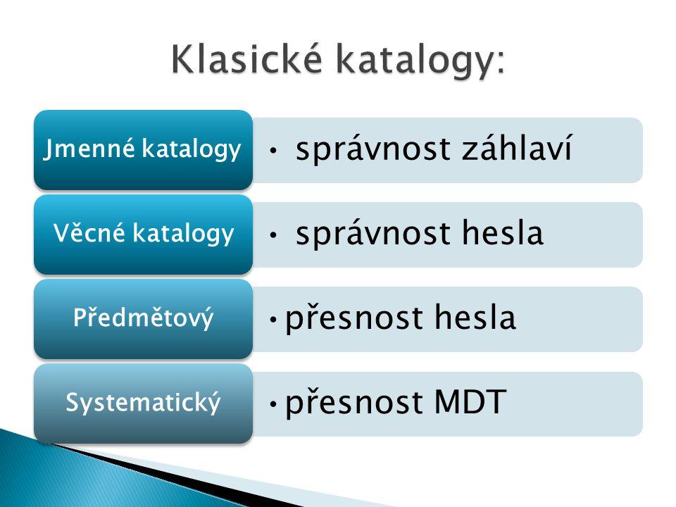 správnost záhlaví Jmenné katalogy správnost hesla Věcné katalogy přesnost hesla Předmětový přesnost MDT Systematický