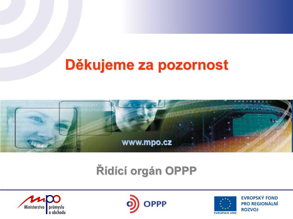 Děkujeme za pozornost Řídící orgán OPPP www.mpo.cz
