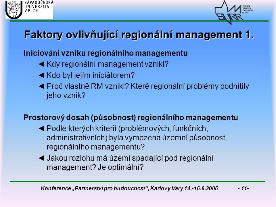"""Konference """"Partnerství pro budoucnost , Karlovy Vary 14.-15.6.2005 - 11- Faktory ovlivňující regionální management 1."""