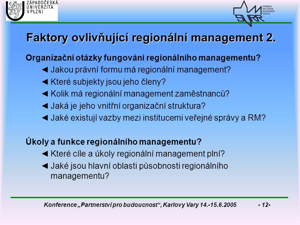"""Konference """"Partnerství pro budoucnost , Karlovy Vary 14.-15.6.2005 - 12- Faktory ovlivňující regionální management 2."""