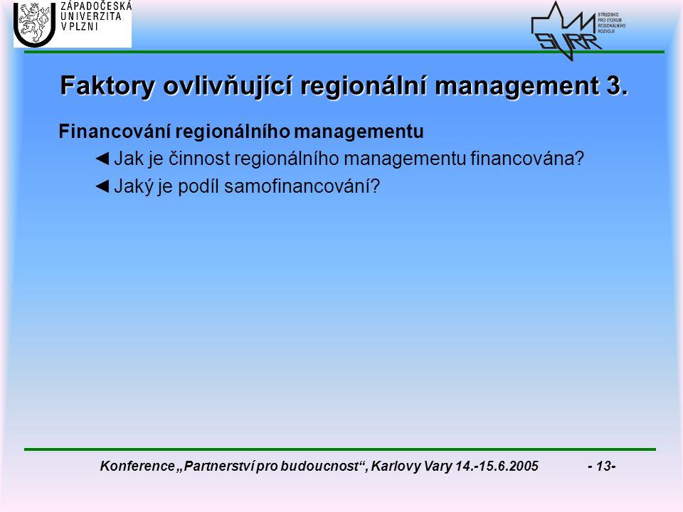 """Konference """"Partnerství pro budoucnost , Karlovy Vary 14.-15.6.2005 - 13- Faktory ovlivňující regionální management 3."""