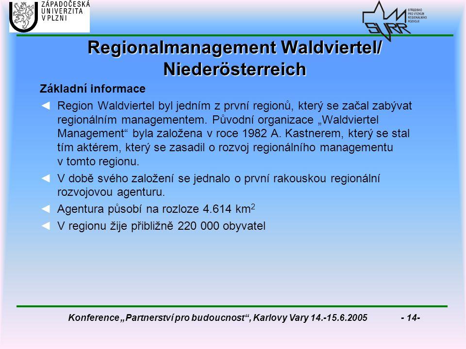 """Konference """"Partnerství pro budoucnost , Karlovy Vary 14.-15.6.2005 - 14- Regionalmanagement Waldviertel/ Niederösterreich Základní informace ◄Region Waldviertel byl jedním z první regionů, který se začal zabývat regionálním managementem."""