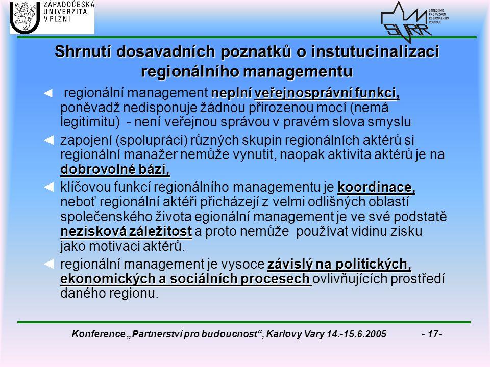 """Konference """"Partnerství pro budoucnost , Karlovy Vary 14.-15.6.2005 - 17- Shrnutí dosavadních poznatků o instutucinalizaci regionálního managementu neplní veřejnosprávní funkci ◄ regionální management neplní veřejnosprávní funkci, poněvadž nedisponuje žádnou přirozenou mocí (nemá legitimitu) - není veřejnou správou v pravém slova smyslu dobrovolné bázi, ◄zapojení (spolupráci) různých skupin regionálních aktérů si regionální manažer nemůže vynutit, naopak aktivita aktérů je na dobrovolné bázi, koordinace nezisková záležitost ◄klíčovou funkcí regionálního managementu je koordinace, neboť regionální aktéři přicházejí z velmi odlišných oblastí společenského života egionální management je ve své podstatě nezisková záležitost a proto nemůže používat vidinu zisku jako motivaci aktérů."""