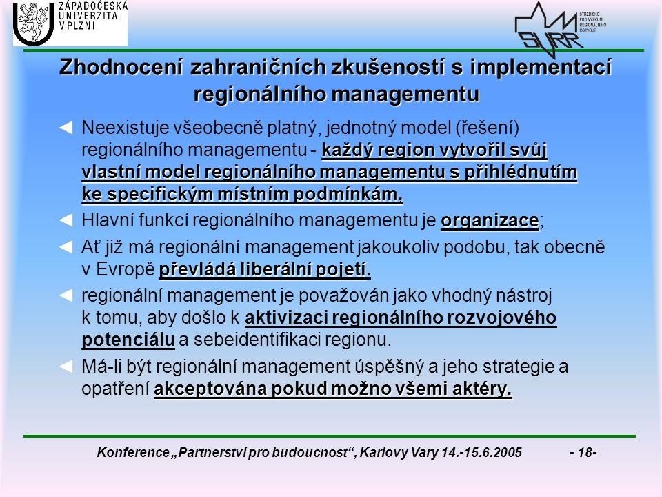 """Konference """"Partnerství pro budoucnost , Karlovy Vary 14.-15.6.2005 - 18- Zhodnocení zahraničních zkušeností s implementací regionálního managementu každý region vytvořil svůj vlastní model regionálního managementu s přihlédnutím ke specifickým místním podmínkám, ◄Neexistuje všeobecně platný, jednotný model (řešení) regionálního managementu - každý region vytvořil svůj vlastní model regionálního managementu s přihlédnutím ke specifickým místním podmínkám, organizace ◄Hlavní funkcí regionálního managementu je organizace; převládá liberální pojetí ◄Ať již má regionální management jakoukoliv podobu, tak obecně v Evropě převládá liberální pojetí."""