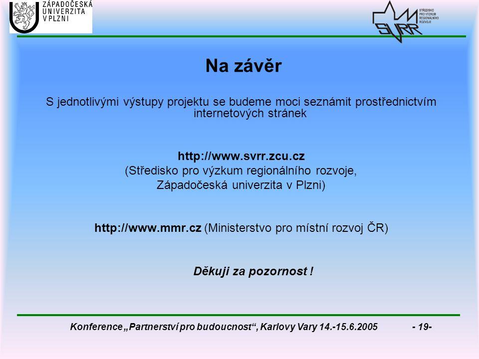 """Konference """"Partnerství pro budoucnost , Karlovy Vary 14.-15.6.2005 - 19- Na závěr S jednotlivými výstupy projektu se budeme moci seznámit prostřednictvím internetových stránek http://www.svrr.zcu.cz (Středisko pro výzkum regionálního rozvoje, Západočeská univerzita v Plzni) http://www.mmr.cz (Ministerstvo pro místní rozvoj ČR) Děkuji za pozornost !"""