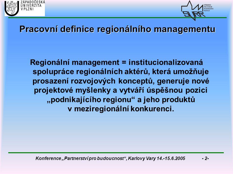 """Konference """"Partnerství pro budoucnost , Karlovy Vary 14.-15.6.2005 - 2- Pracovní definice regionálního managementu Regionální management = institucionalizovaná spolupráce regionálních aktérů, která umožňuje prosazení rozvojových konceptů, generuje nové projektové myšlenky a vytváří úspěšnou pozici """"podnikajícího regionu a jeho produktů v meziregionální konkurenci."""