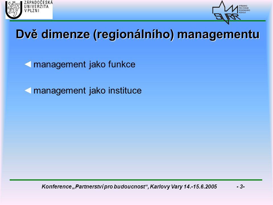 """Konference """"Partnerství pro budoucnost , Karlovy Vary 14.-15.6.2005 - 3- Dvě dimenze (regionálního) managementu ◄management jako funkce ◄management jako instituce"""