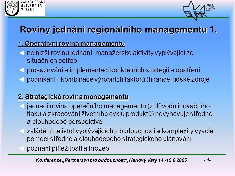 """Konference """"Partnerství pro budoucnost , Karlovy Vary 14.-15.6.2005 - 4- Roviny jednání regionálního managementu 1."""