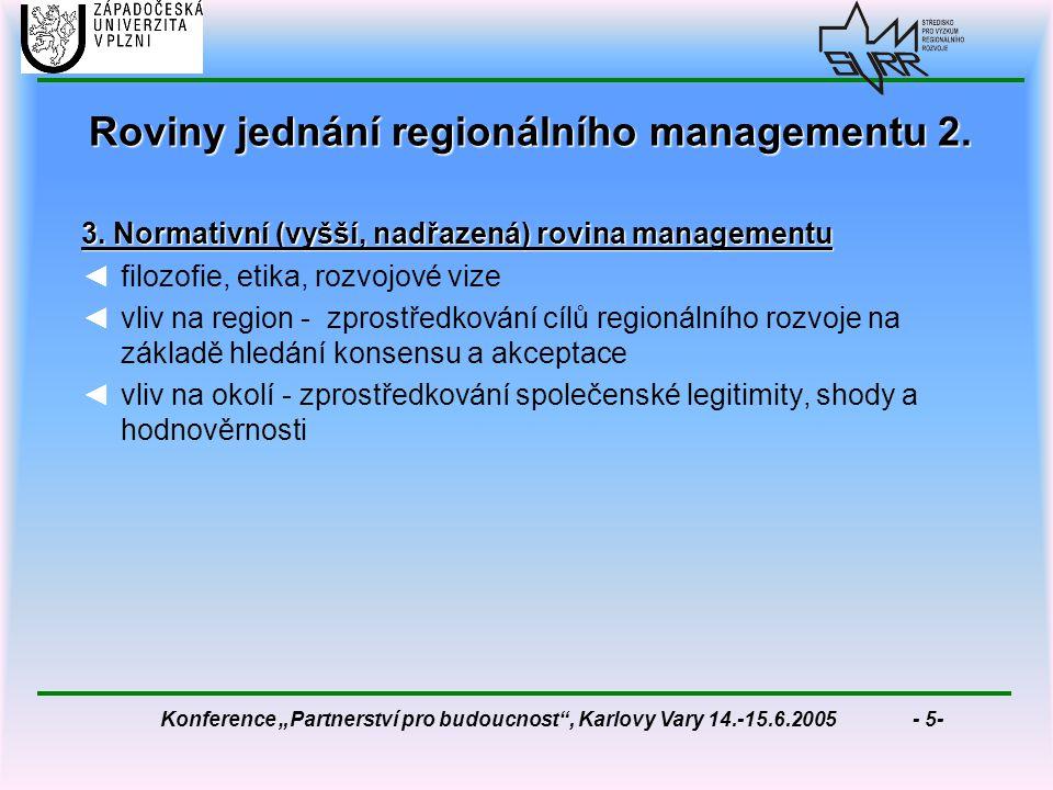 """Konference """"Partnerství pro budoucnost , Karlovy Vary 14.-15.6.2005 - 5- Roviny jednání regionálního managementu 2."""