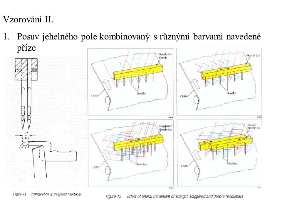 Vzorování II. 1.Posuv jehelného pole kombinovaný s různými barvami navedené příze
