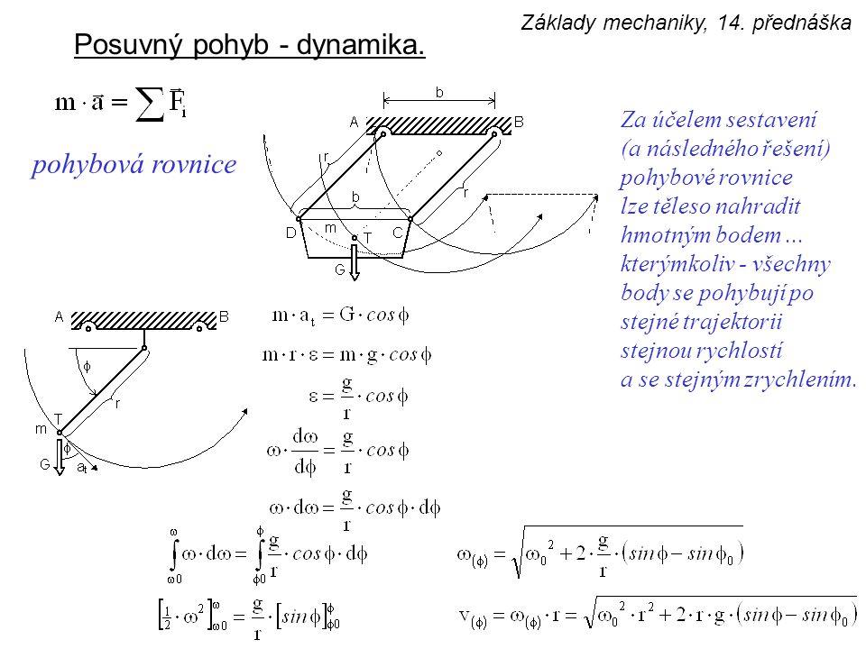 Posuvný pohyb - dynamika. Za účelem sestavení (a následného řešení) pohybové rovnice lze těleso nahradit hmotným bodem... kterýmkoliv - všechny body s