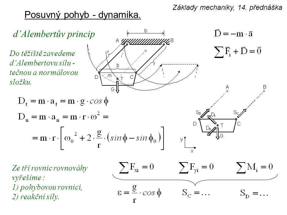 Posuvný pohyb - dynamika. d'Alembertův princip Do těžiště zavedeme d'Alembertovu sílu - tečnou a normálovou složku. Ze tří rovnic rovnováhy vyřešíme :