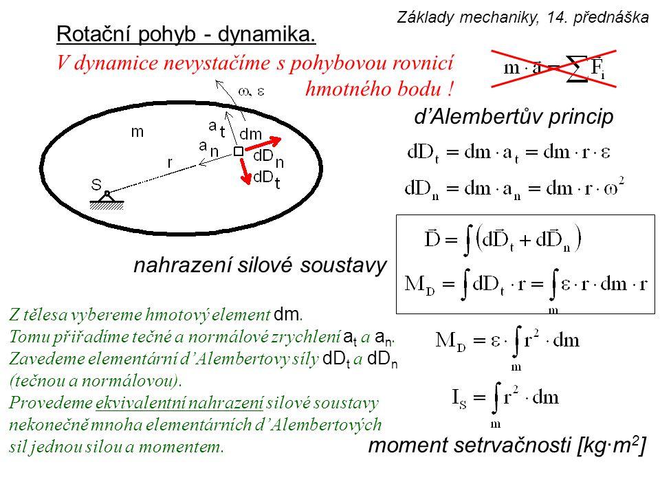 Rotační pohyb - dynamika. d'Alembertův princip nahrazení silové soustavy V dynamice nevystačíme s pohybovou rovnicí hmotného bodu ! Z tělesa vybereme