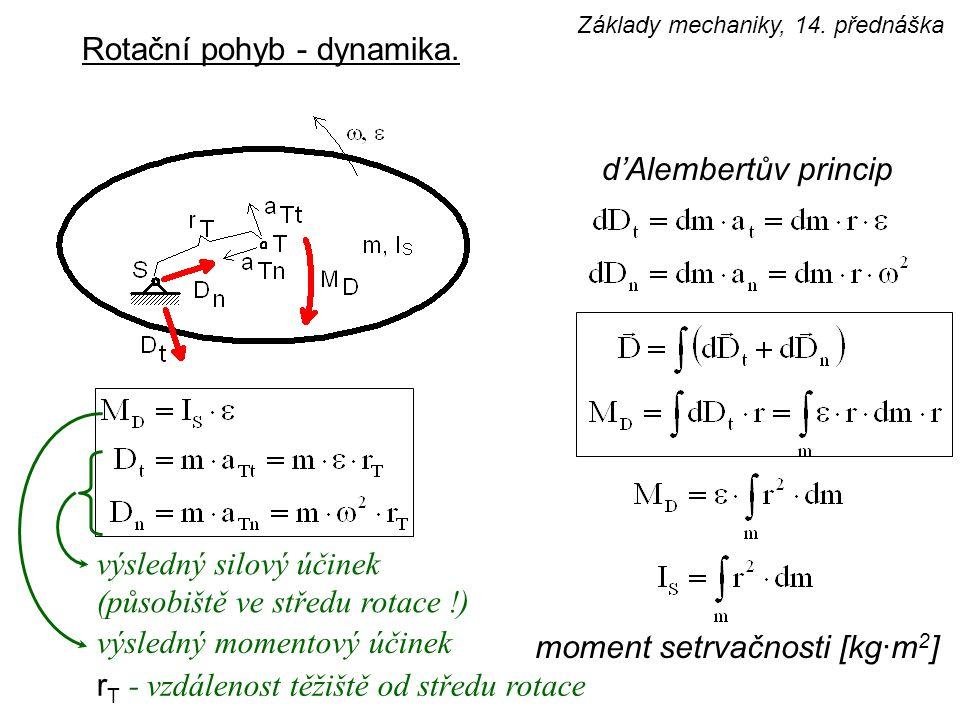 Rotační pohyb - dynamika. d'Alembertův princip moment setrvačnosti [kg·m 2 ] výsledný silový účinek (působiště ve středu rotace !) výsledný momentový