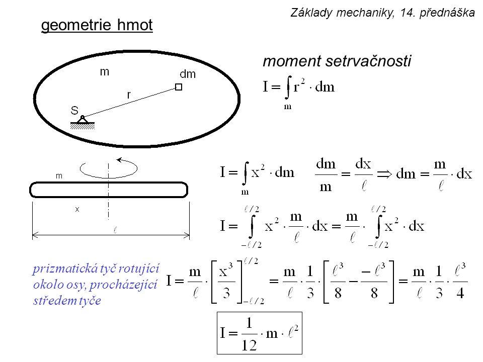 geometrie hmot moment setrvačnosti prizmatická tyč rotující okolo osy, procházející středem tyče Základy mechaniky, 14. přednáška