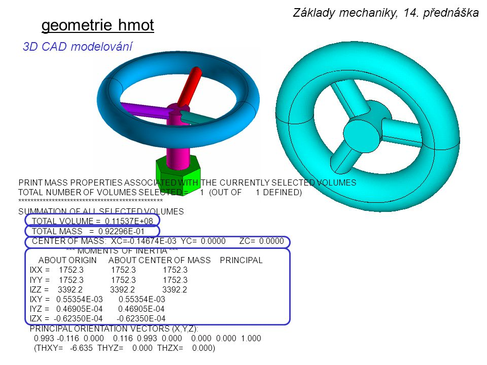 geometrie hmot 3D CAD modelování PRINT MASS PROPERTIES ASSOCIATED WITH THE CURRENTLY SELECTED VOLUMES TOTAL NUMBER OF VOLUMES SELECTED = 1 (OUT OF 1 D