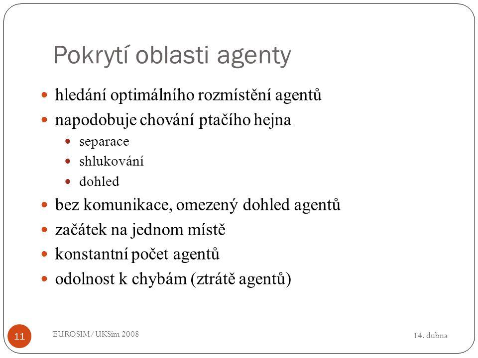 14. dubna EUROSIM/UKSim 2008 11 Pokrytí oblasti agenty hledání optimálního rozmístění agentů napodobuje chování ptačího hejna separace shlukování dohl