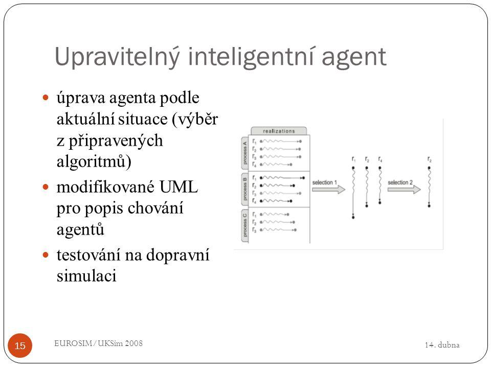 14. dubna EUROSIM/UKSim 2008 15 Upravitelný inteligentní agent úprava agenta podle aktuální situace (výběr z připravených algoritmů) modifikované UML