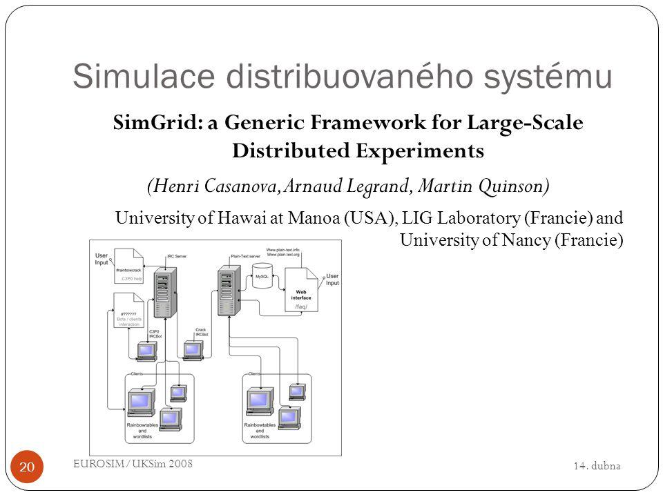 14. dubna EUROSIM/UKSim 2008 20 Simulace distribuovaného systému SimGrid: a Generic Framework for Large-Scale Distributed Experiments (Henri Casanova,