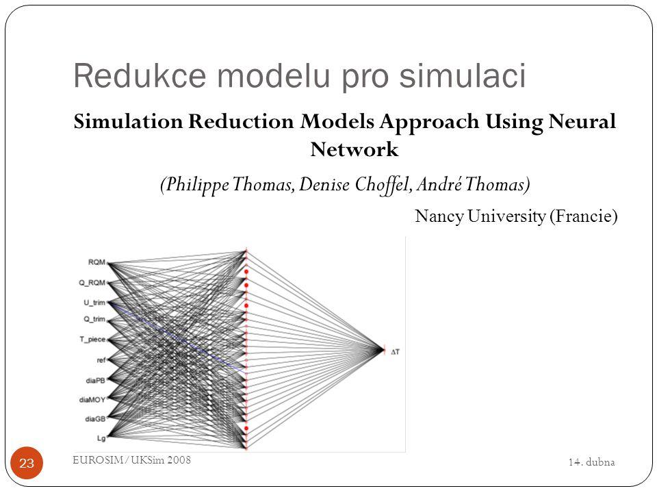 14. dubna EUROSIM/UKSim 2008 23 Redukce modelu pro simulaci Simulation Reduction Models Approach Using Neural Network (Philippe Thomas, Denise Choffel