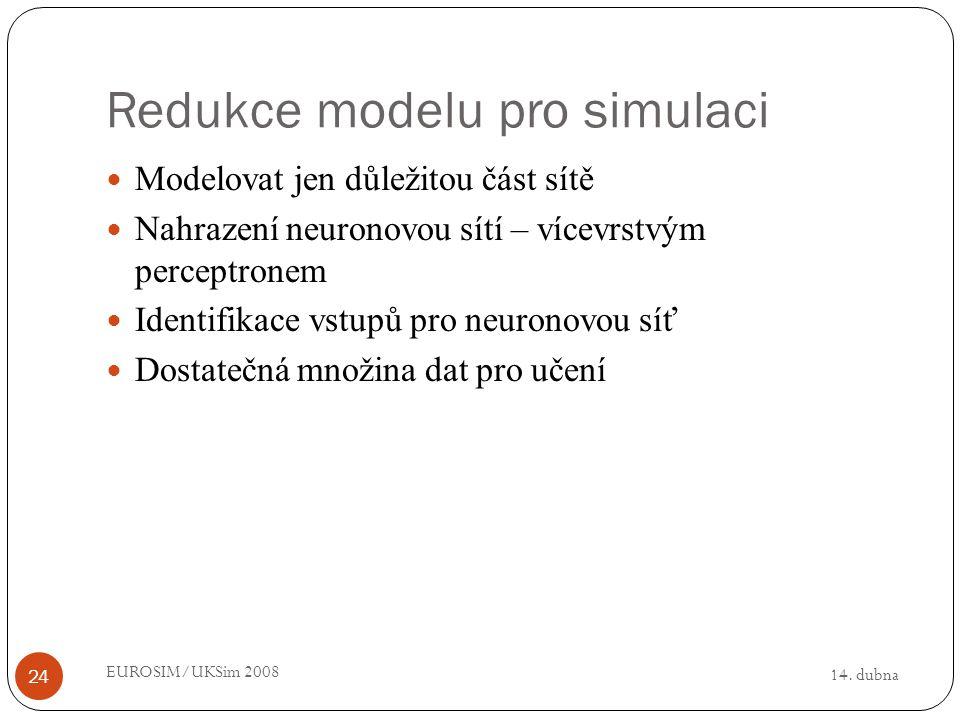 14. dubna EUROSIM/UKSim 2008 24 Redukce modelu pro simulaci Modelovat jen důležitou část sítě Nahrazení neuronovou sítí – vícevrstvým perceptronem Ide