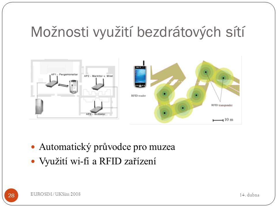 14. dubna EUROSIM/UKSim 2008 28 Možnosti využití bezdrátových sítí Automatický průvodce pro muzea Využití wi-fi a RFID zařízení