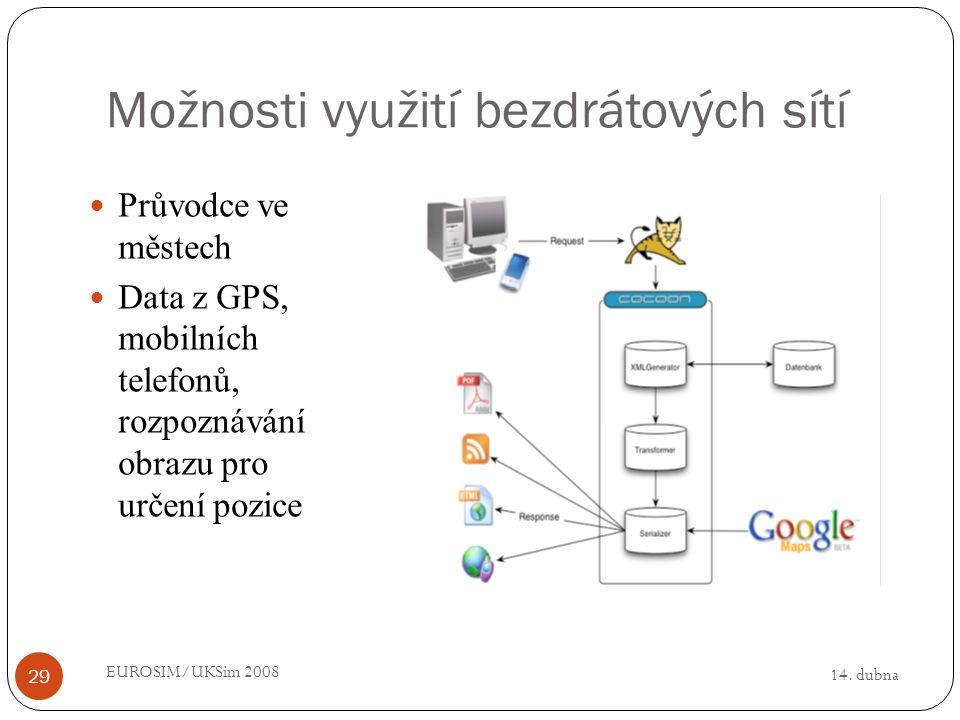 14. dubna EUROSIM/UKSim 2008 29 Možnosti využití bezdrátových sítí Průvodce ve městech Data z GPS, mobilních telefonů, rozpoznávání obrazu pro určení