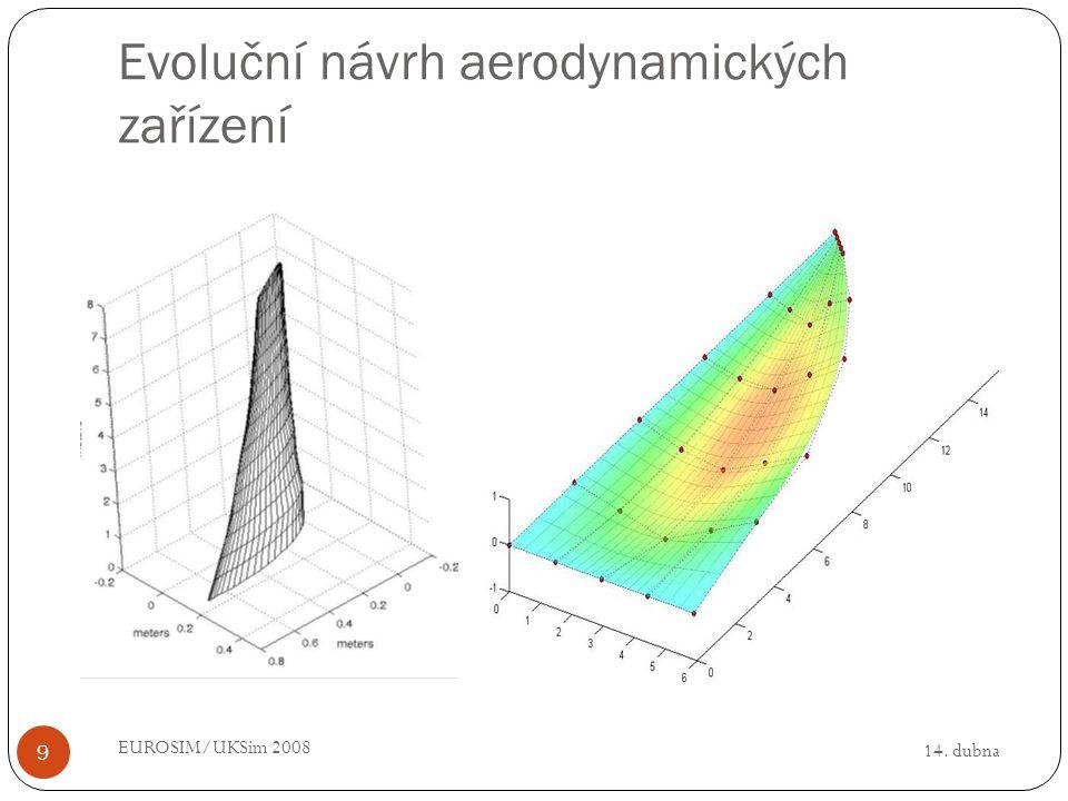 14. dubna EUROSIM/UKSim 2008 9 Evoluční návrh aerodynamických zařízení