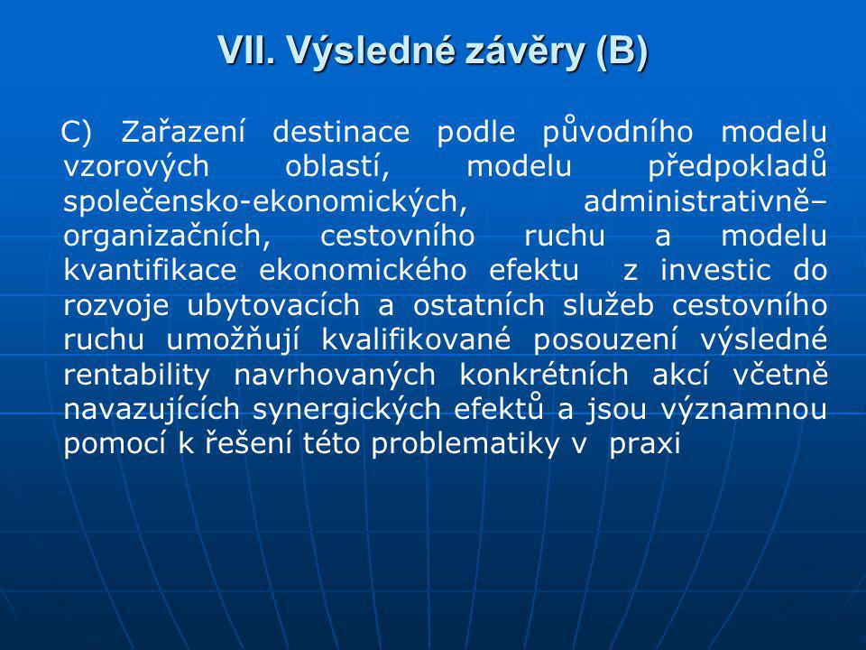 VII. Výsledné závěry (B) C) Zařazení destinace podle původního modelu vzorových oblastí, modelu předpokladů společensko-ekonomických, administrativně–