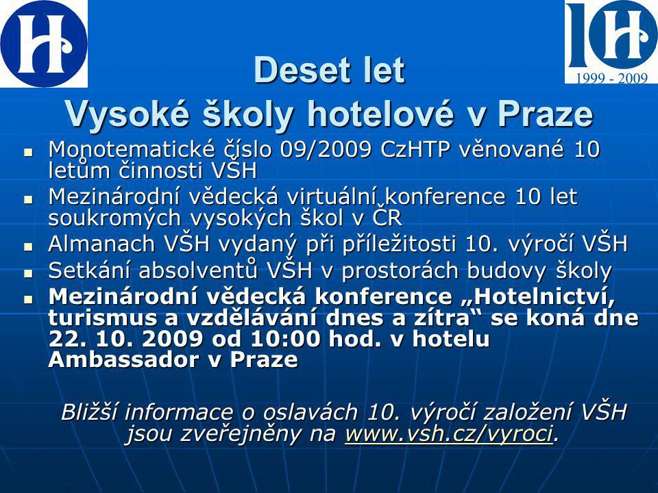 Deset let Vysoké školy hotelové v Praze Monotematické číslo 09/2009 CzHTP věnované 10 letům činnosti VŠH Monotematické číslo 09/2009 CzHTP věnované 10