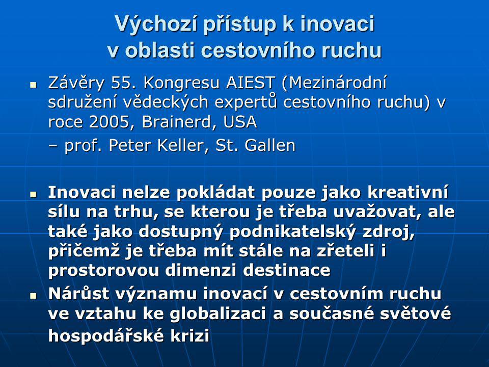 Výchozí přístup k inovaci v oblasti cestovního ruchu Závěry 55. Kongresu AIEST (Mezinárodní sdružení vědeckých expertů cestovního ruchu) v roce 2005,
