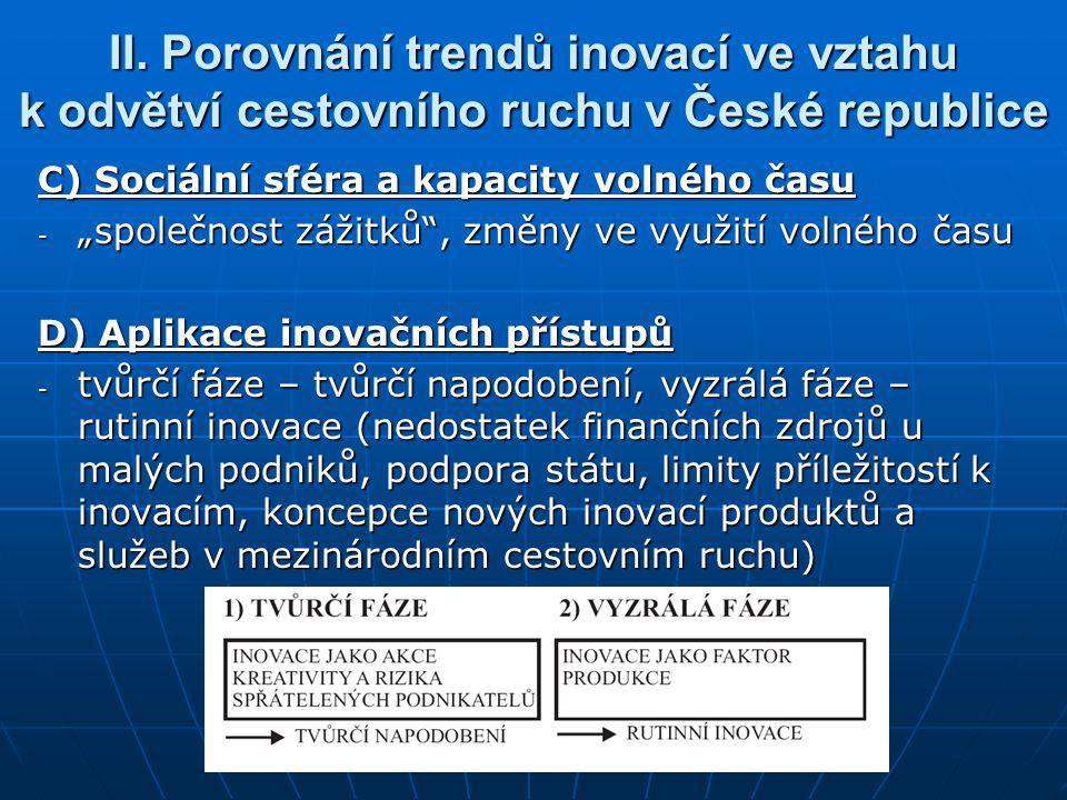"""II. Porovnání trendů inovací ve vztahu k odvětví cestovního ruchu v České republice C) Sociální sféra a kapacity volného času - """"společnost zážitků"""","""