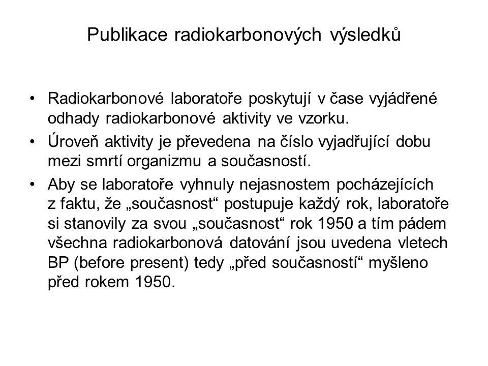Publikace radiokarbonových výsledků Radiokarbonové laboratoře poskytují v čase vyjádřené odhady radiokarbonové aktivity ve vzorku. Úroveň aktivity je
