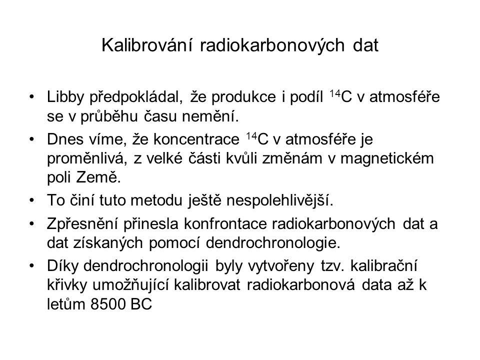Kalibrování radiokarbonových dat Libby předpokládal, že produkce i podíl 14 C v atmosféře se v průběhu času nemění. Dnes víme, že koncentrace 14 C v a