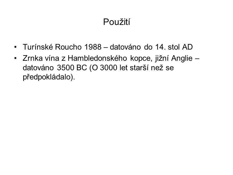 Použití Turínské Roucho 1988 – datováno do 14. stol AD Zrnka vína z Hambledonského kopce, jižní Anglie – datováno 3500 BC (O 3000 let starší než se př