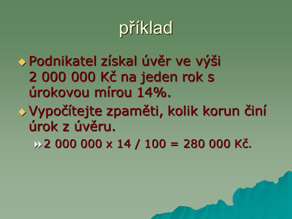 Úvěr ve výši 300 000 Kč na jeden rok poskytuje Česká spořitelna s úrokovou mírou 14,2 % a ČSOB s úrokovou mírou 14,4 %.