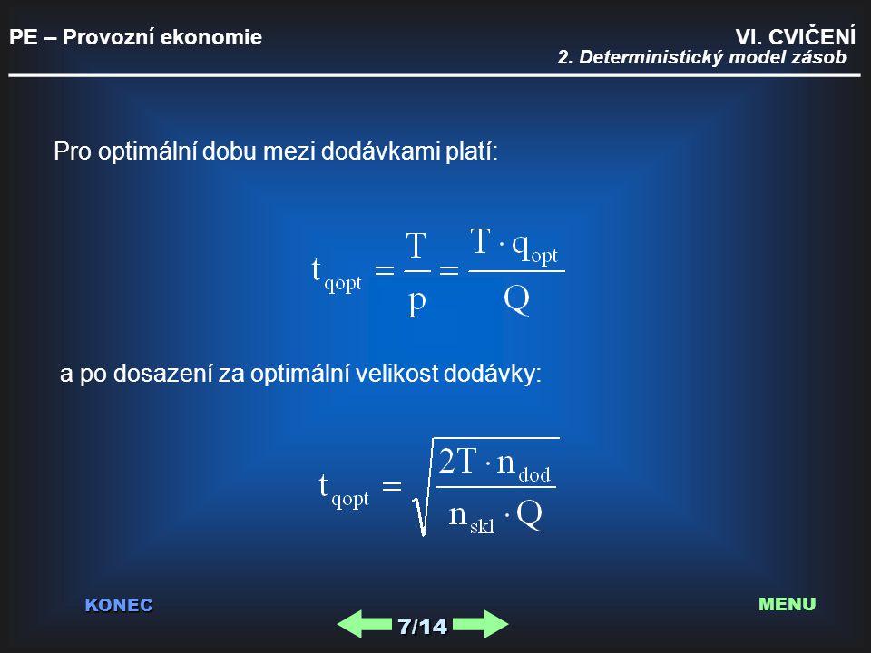 PE – Provozní ekonomie VI. CVIČENÍ _________________________________________ KONEC 7/14 MENU Pro optimální dobu mezi dodávkami platí: a po dosazení za
