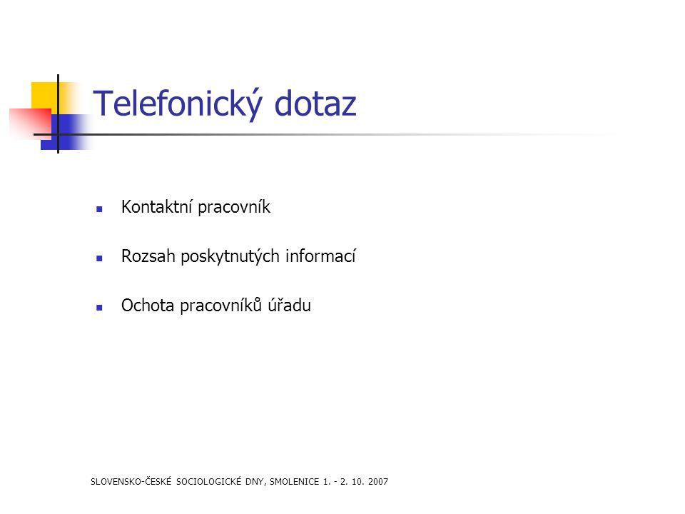 SLOVENSKO-ČESKÉ SOCIOLOGICKÉ DNY, SMOLENICE 1. - 2. 10. 2007 Telefonický dotaz Kontaktní pracovník Rozsah poskytnutých informací Ochota pracovníků úřa