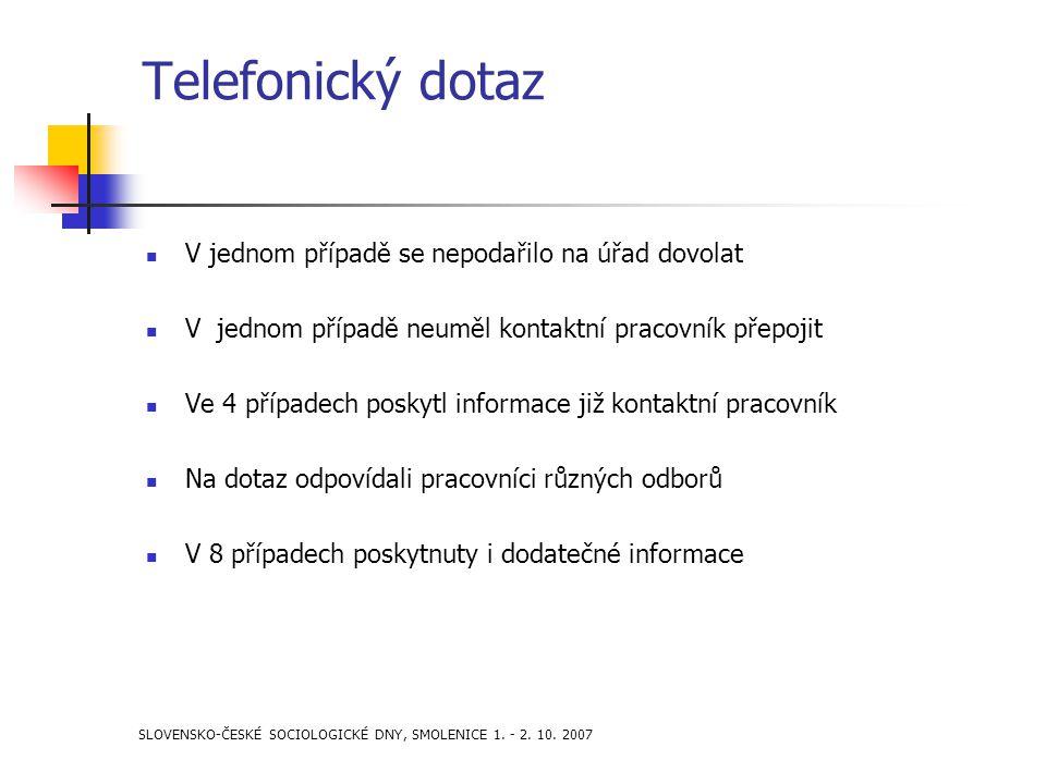 SLOVENSKO-ČESKÉ SOCIOLOGICKÉ DNY, SMOLENICE 1. - 2. 10. 2007 Telefonický dotaz V jednom případě se nepodařilo na úřad dovolat V jednom případě neuměl
