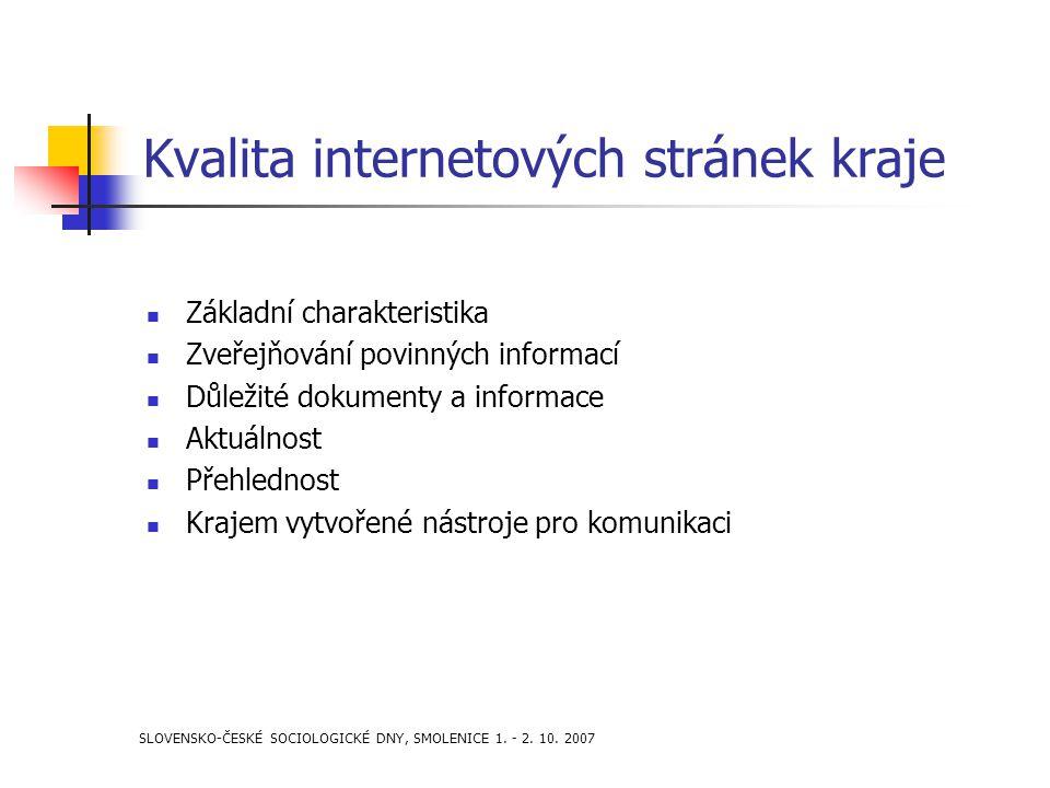 SLOVENSKO-ČESKÉ SOCIOLOGICKÉ DNY, SMOLENICE 1. - 2. 10. 2007 Kvalita internetových stránek kraje Základní charakteristika Zveřejňování povinných infor