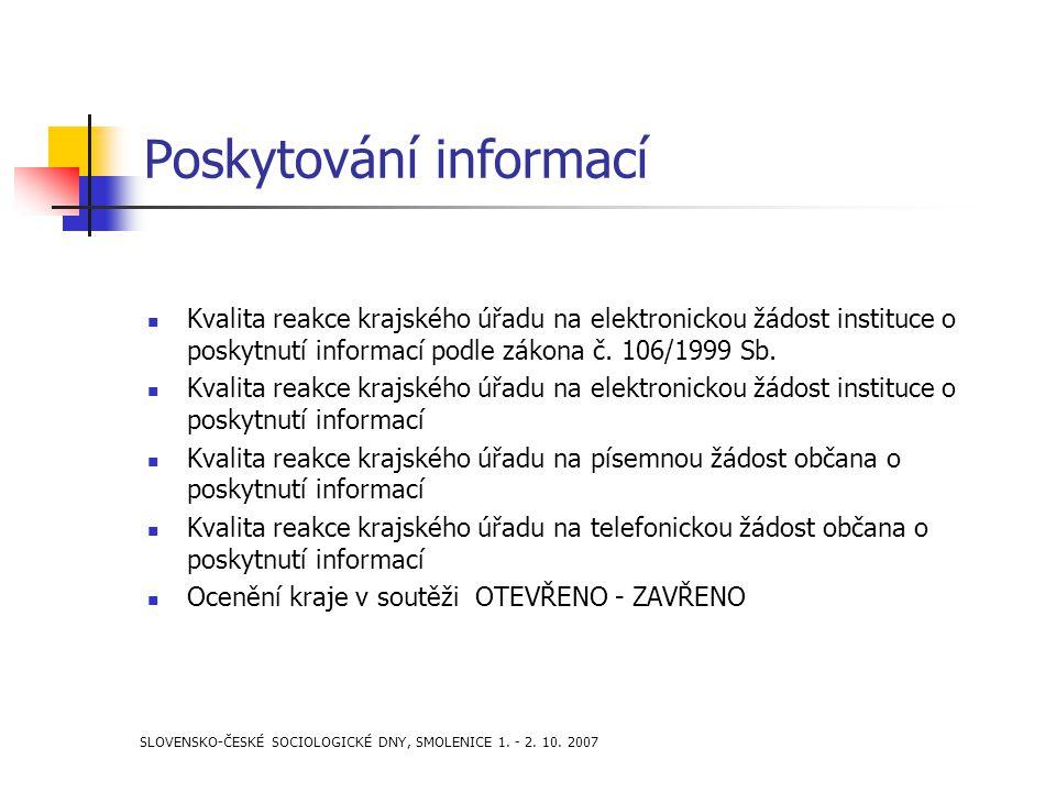 SLOVENSKO-ČESKÉ SOCIOLOGICKÉ DNY, SMOLENICE 1. - 2. 10. 2007 Poskytování informací Kvalita reakce krajského úřadu na elektronickou žádost instituce o