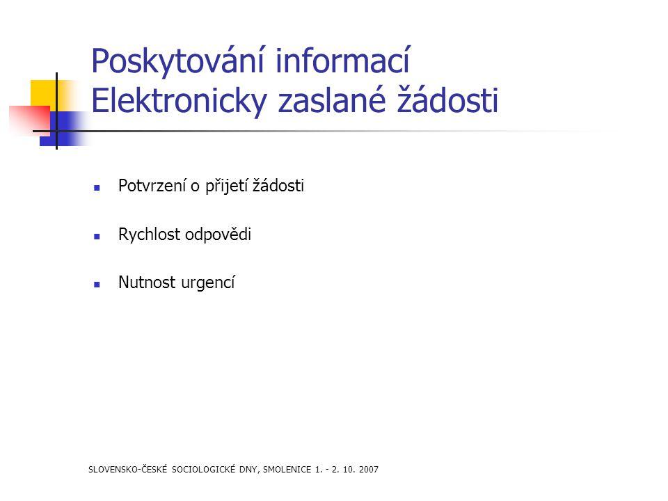 SLOVENSKO-ČESKÉ SOCIOLOGICKÉ DNY, SMOLENICE 1. - 2. 10. 2007 Poskytování informací Elektronicky zaslané žádosti Potvrzení o přijetí žádosti Rychlost o