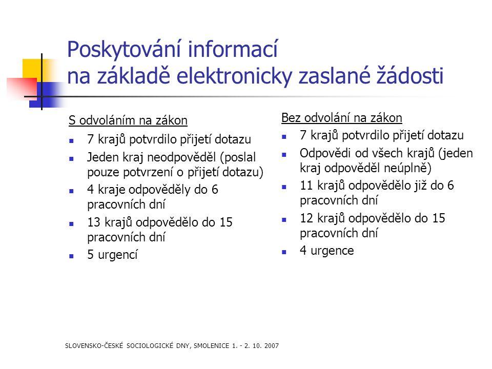 SLOVENSKO-ČESKÉ SOCIOLOGICKÉ DNY, SMOLENICE 1. - 2. 10. 2007 Poskytování informací na základě elektronicky zaslané žádosti S odvoláním na zákon 7 kraj