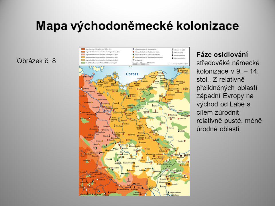 Mapa východoněmecké kolonizace Obrázek č. 8 Fáze osidlování středověké německé kolonizace v 9. – 14. stol.. Z relativně přelidněných oblastí západní E